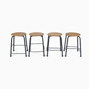 Vintage Blue Metal Frame Stools, Set of 4