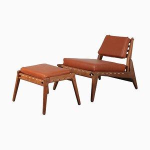 """""""Hunting Chair"""" mit Hocker von Uno & Osten Kristiansson, Sweden 1950"""