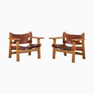 Dänische Spanische Stühle von Borge Mogensen für Fredericia, 1960er, 2er Set