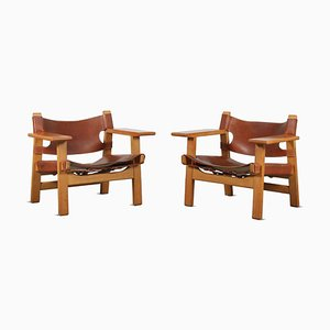 Danish Spanish Chairs by Borge Mogensen for Fredericia, 1960s, Set of 2