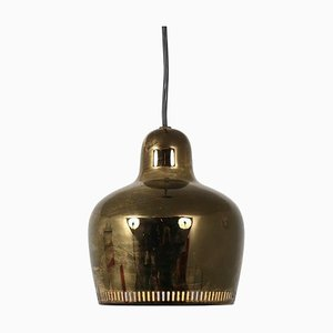 Finnish Golden Bell Hanging Lamp by Alvar Aalto for Artek, 1950s