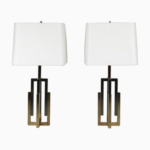 Italian Chrome and Brass Table Lamps Attributed to Romeo Rega, 1970s, Set of 2