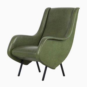 Italian Green Faux Leather Armchairs, 1950s, Set of 2