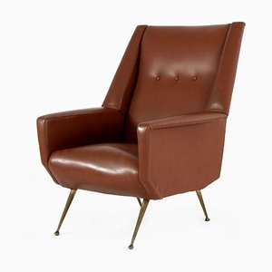 Italian Faux Leather Armchair with Brass Legs, 1950s
