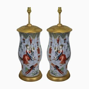 Vintage Hand Painted Orientalist Table Lamps, Set of 2