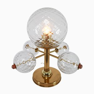 Table Lamp with Brass Fixture and Structured Glass, 1970s