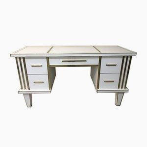 Schreibtisch aus weißem Glas mit Messingspiegel von Zenza Art & Deco