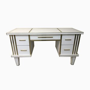 White Glass & Mirrored Desk with Brass by Zenza Art & Deco