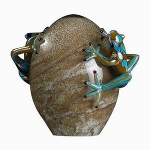 Eierskulptur aus Glas mit Fröschen von VGnewtrend