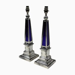 Vintage Silver Plated and Blue Glass Obelisk Lamps, Set of 2