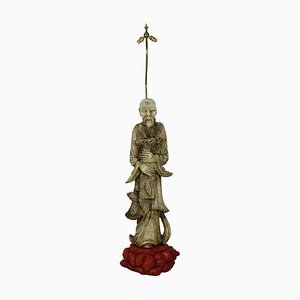 Mid-Century Marble Sculptural Chinese Figure Floor Lamp