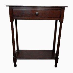 Petite Table d'Appoint Antique en Chêne avec Tiroir