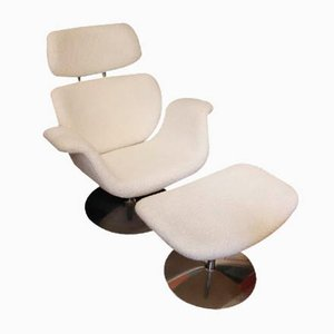 White Big Tulip Lounge Chair and Ottoman Set by Pierre Paulin, 1960s, Set of 2