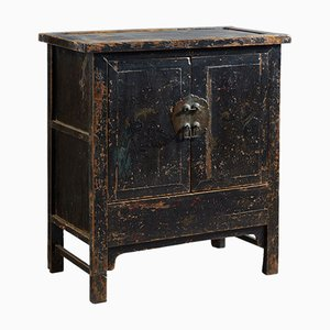 Antique Chinese Side Cabinet in Black Lacquer