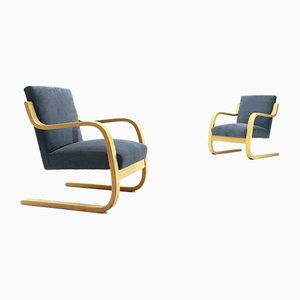 Blue Model 402 Armchairs by Alvar Aalto for Artek, 1970s, Set of 2