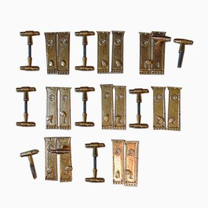 Art Nouveau Industrial Brass Door Handles, Set of 32