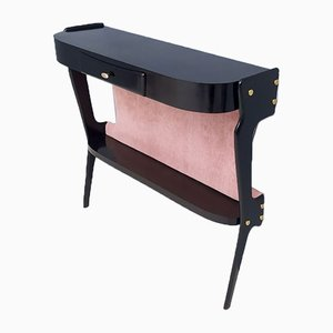 Italian Ebonized Beech and Pale Pink Velvet Console Tables, 1950s, Set of 2