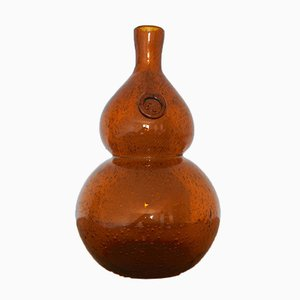 Large French Hand Blown Glass Bottle from Biot, 1970s