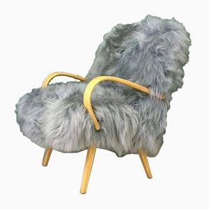 Vintage Art Deco Sessel aus Grauem Schafsfell