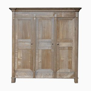 Antique Directoire French Bleached Oak Armoire
