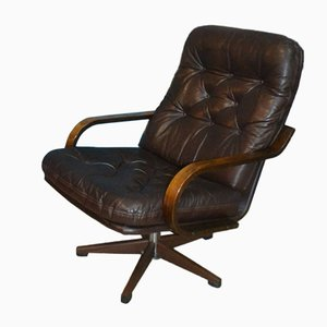 Vintage Skai Leather and Bentwood Swivel Lounge Chair, 1970s