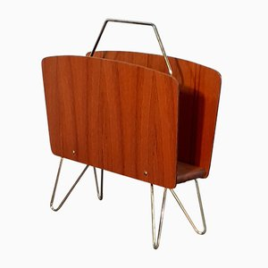 Vintage Scandinavian Danish Teak and Golden Brass Magazine Rack, 1960s