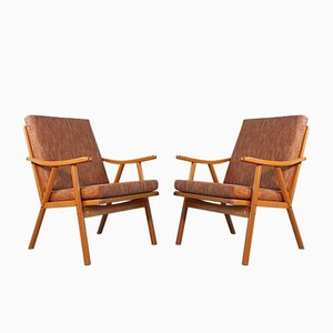 Vintage Beech and Fabric Lounge Chairs from TON, 1979, Set of 2