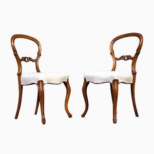 Beistellstühle aus Nussholz, 2er Set