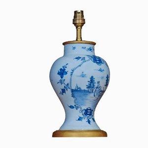 Antique Delft Blue Porcelain Table Lamps, Set of 2