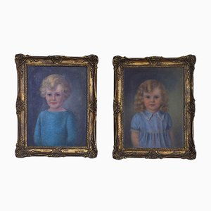 English School Oil Paintings, 1930s, Set of 2
