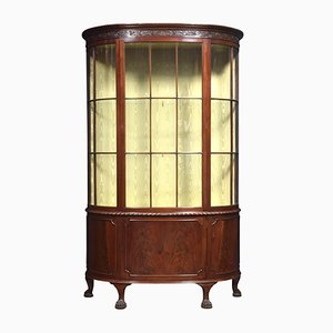 Antique Bow Fronted Mahogany Display Cabinet