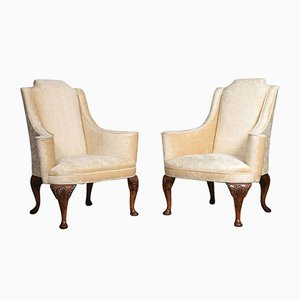 Antique Queen Anne Style Wing Armchairs, Set of 2
