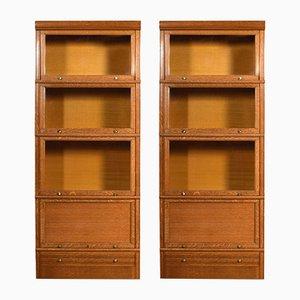 Große antike modulare Bücherregale aus Eiche, 2er Set