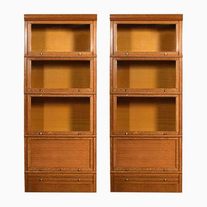 Large Antique Oak Modular Bookcases, Set of 2