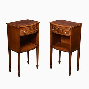 Antique Edwardian String Inlaid Nightstands, Set of 2