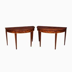 Mahogany Half Round Hall Tables, Set of 2