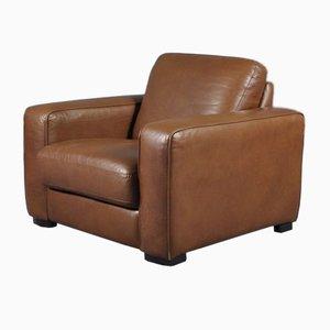 Cigar Brown Leather Club Chair, 1970s