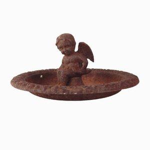 Antique Cast Iron Bird Bath with Angel
