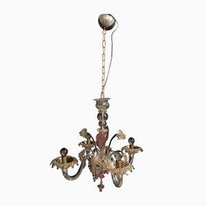 Vintage Murano Ditta Kronleuchter in Rosa, Transparent Weiß & Gold von Cesare Toso