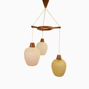 Lampada da soffitto Mid-Century con tre sfere in vetro, Scandinavia