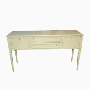 Vintage Chippendale Style Shabby Chic Cream White Chest of Drawers, 1970s