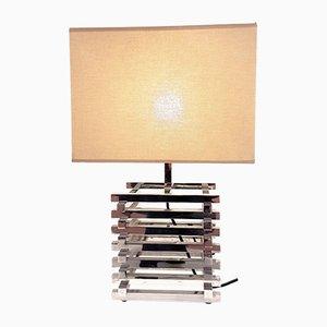 Italian Chrome Graphic Table Lamp, 1980s