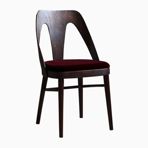 Dining Chairs in Burgundy Mohair by Kvadrat, 1950s, Set of 4