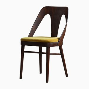 Dining Chairs in Honey Yellow Mohair by Kvadrat, 1950s, Set of 4