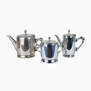 Chromed Brass Coffee Set from S. Braz, 1960s, Set of 3