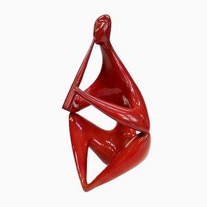 Rote Sitzende Skulptur von Zsolnay, 1960er