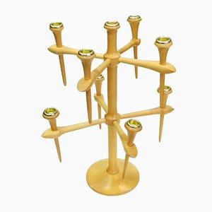 Scandinavian Wooden 9-Arm Candleholder, 1970s