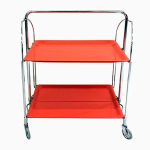 Space Age Foldable Bar Cart with Chrome-Plated Legs, 1960s