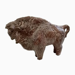 Mid-Century Ceramic Bison Sculpture by Mihaly