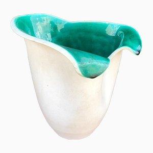 Vase in Grün & Weiß von Elchinger, 1950er